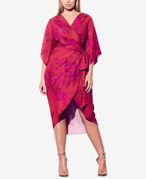 CITY CHIC Trendy Plus Size High-Low Faux-Wrap Dress in Mystic Fever