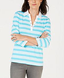 Karen Scott Petite Striped Collared Grommet Top, Created for Macy's