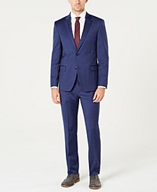 Men's Modern-Fit TH Flex Stretch Blue Tic Suit