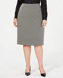 Anne Klein Plus Size Houndstooth Pencil Skirt