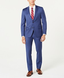 Tommy Hilfiger Men's Modern-Fit TH Flex Stretch Medium Blue Twill Suit