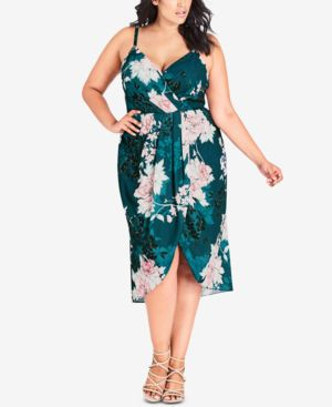 Trendy Plus Size Floral-Print Faux-Wrap Dress, Jade Bloss