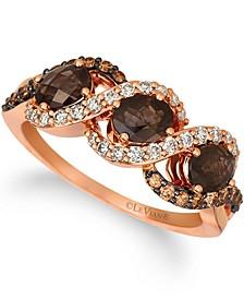 Chocolate Quartz® (1 ct.t.w.), Nude Diamonds™ (1/4 ct.t.w.), and Chocolate Diamonds® (1/4 ct.t.w.) Three Stone Ring set in 14k rose gold