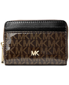 MICHAEL Michael Kors Signature Glossy Zip Around Coin Card Case, Created for Macy's