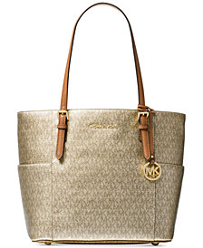 Michael Kors Metallic Signature Jet Set Travel Tote
