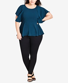 City Chic Trendy Plus Size Flutter-Sleeve Peplum Top