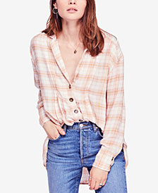Free People All About The Feel Cotton Plaid Shirt