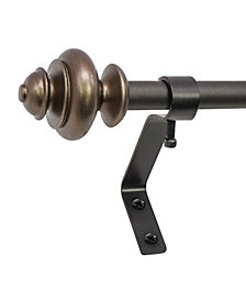 Montevilla 1/2-Inch Urn Telescoping Cafe Curtain Rod Set, 48 to 86-Inch, Brown