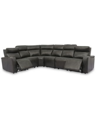 Oaklyn 6-Pc. Leather Sectional with 2 Power Motion Recliners & 2 Drop Down Tables