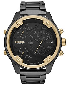 Men's Chronograph Boltdown Black Stainless Steel Bracelet Watch 56mm