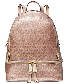 MICHAEL Michael Kors Metallic Signature Rhea Zip Backpack