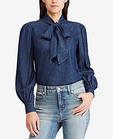 Lauren Ralph Lauren Neck-Tie Cotton Shirt