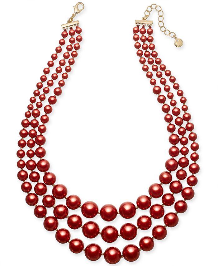 Charter Club - Imitation Pearl Three-Row Collar Necklace