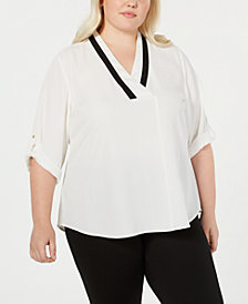 Calvin Klein Plus Size Contrast-Trim Roll-Tab-Sleeve Top