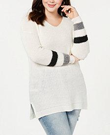 Planet Gold Trendy Plus Size Stripe-Detail Sweater