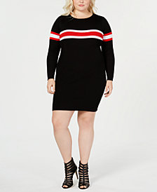 Say What? Trendy Plus Size Striped Sweater Dress