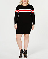 Say What Trendy Plus Size Striped Sweater Dress