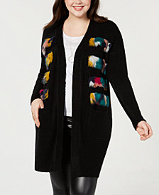 Say What? Trendy Plus Size Faux-Fur Cardigan Sweater