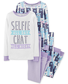 Carter's Little & Big Girls 4-Pc. Selfie Bear Cotton Pajamas