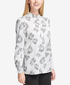 Tommy Hilfiger Floral Print Mandarin Collar Blouse