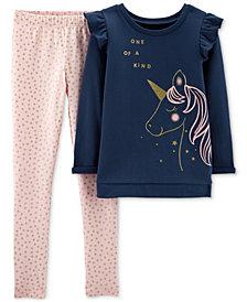 Carter's Little & Big Girls 2-Pc. Unicorn Fleece Top & Leggings Set