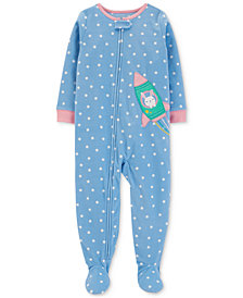 Carter's Toddler Girls Star-Print Rocket Footed Pajamas