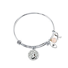 "Unwritten ""Survivor"" Breast Cancer Awareness Bangle Bracelet in Stainless Steel"