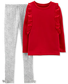 Carter's Little & Big Girls 2-Pc. Ruffle-Trim Sweatshirt & Printed Leggings Set