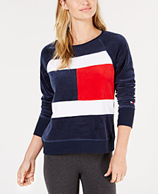 Tommy Hilfiger Sport Logo Velour Sweatshirt, Created for Macy's