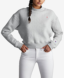 Champion Mock-Neck Cropped Sweatshirt