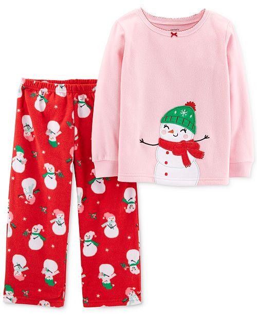1acfea6b755e Carter s Toddler Girls 2-Pc. Snowman Fleece Pajama Set - Pajamas ...