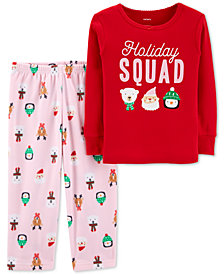 Carter's Toddler Girls 2-Pc. Holiday Squad Pajama Set