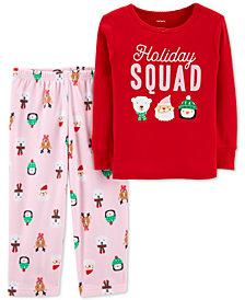 Carter's Toddler Girls 2-Pc. Holiday Squad Pajama Set
