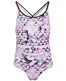 Ideology Big Girls 1-Pc. Geo-Print Swimsuit, Created for Macy's