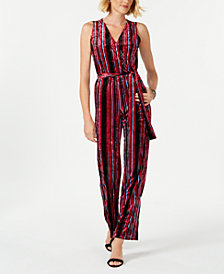 NY Collection Petite Striped Wrap Jumpsuit