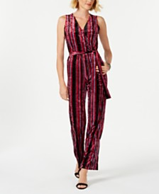5ec92f012afc NY Collection Petite Striped Wrap Jumpsuit