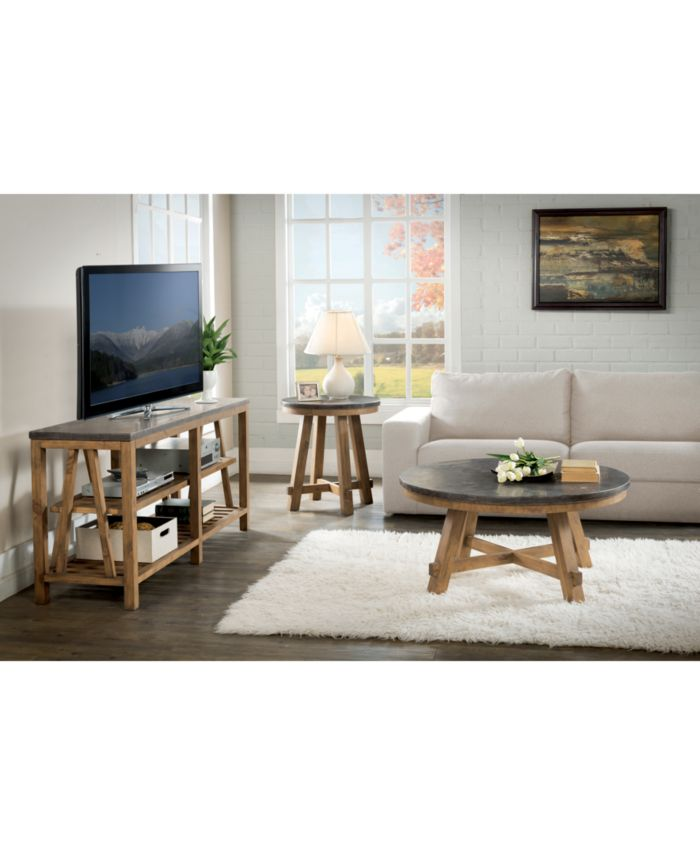 Furniture Breslin Bluestone Table Furniture, 2-Pc. Set (Round Coffee Table & Round End Table) & Reviews - Furniture - Macy's