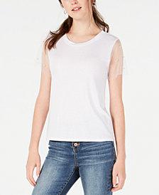 Crave Fame Juniors' Sheer-Sleeve Embellished Top