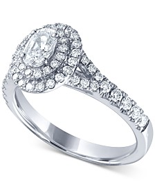 Diamond Oval Double Halo Engagement Ring (1 ct. t.w.) in 14k White Gold