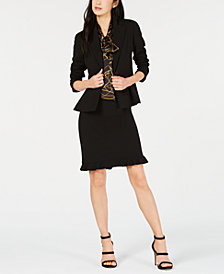 Bar III One-Button Blazer, Printed Shell & Skirt, Created for Macy's