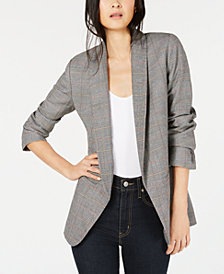 Bar III Open-Front Plaid Blazer, Created for Macy's