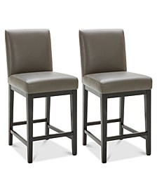 Tate Leather Parsons Stool, 2-Pc. Set (2 Graphite Counter Stools)