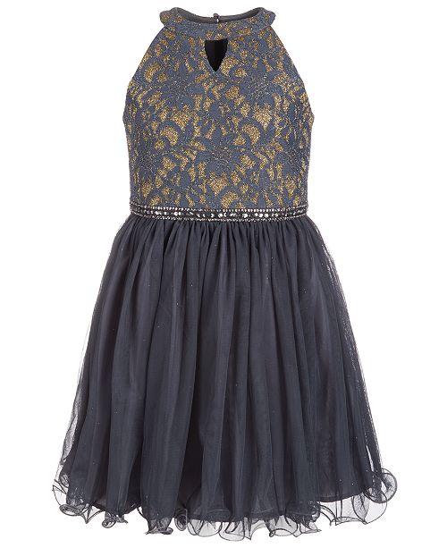 75f7fd4c1a92 Us Angels Big Girls Glitter Lace Dress - Dresses - Kids - Macy s