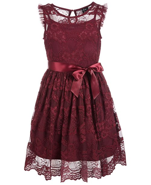 Pink & Violet Little Girls Scalloped-Hem Lace Dress