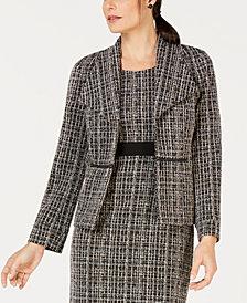 Kasper Tweed Zipper-Side Blazer
