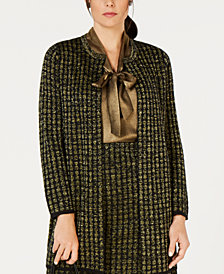 Kasper Metallic Open-Front Cardigan