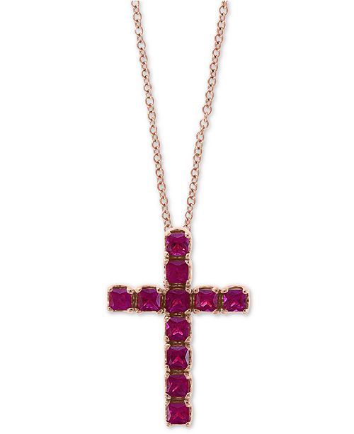 "EFFY Collection EFFY® Certified Ruby Cross 18"" Pendant Necklace (2-1/10 ct. t.w.) in 14k Rose Gold"
