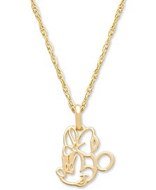 "Children's Minnie Mouse Outline 15"" Pendant Necklace in 14k Gold"