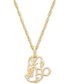 "Disney© Children's Minnie Mouse Outline 15"" Pendant Necklace in 14k Gold"