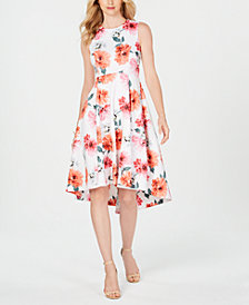 Calvin Klein Petite Floral High-Low Midi Dress